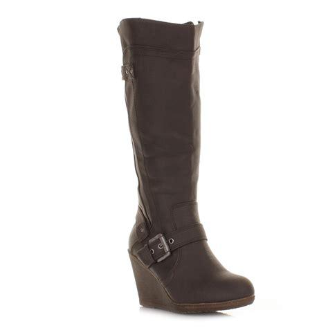 knee high brown boots with heel womens xti wedge heel brown leather knee high biker style
