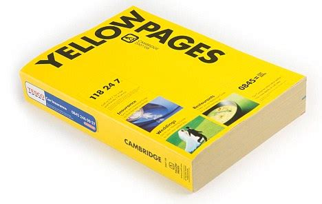 Yellow Pages Uk Search Yellow Pages Goes On Diet Listings Bible Shrinks Waste Fears And Rise Of