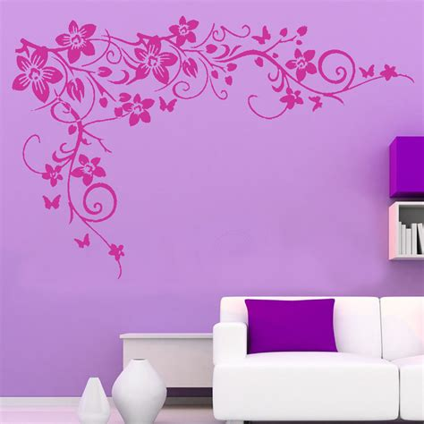 removeable wall stickers large butterfly vine flower wall sticker removable home mural vinyl decal t7 ebay