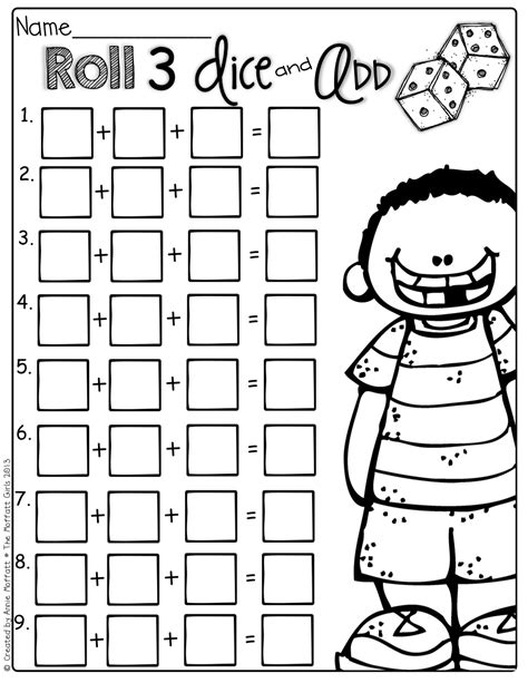 printable dice addition worksheet roll 3 dice and add them up such a fun and interactive