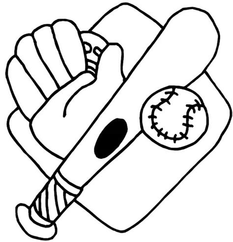 free coloring pages of ball bat and glove