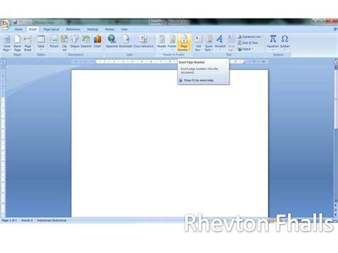 membuat halaman pada ms word 2007 cara mudah membuat nomor halaman pada microsoft word 2007