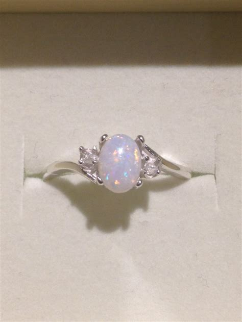 Australian Opal Ring Genuine Orange and Blue Multicolor Opal