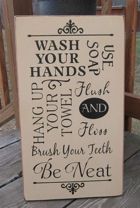 bathroom rules plaque primitive wood sign bathroom rules wash by