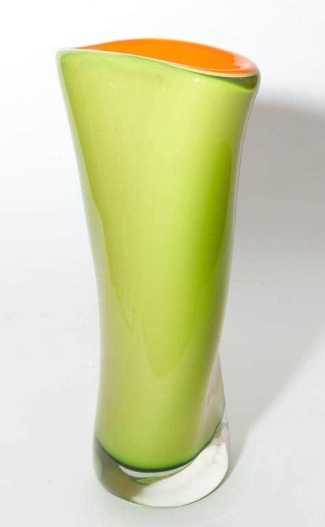 Orange Vases For Sale Green And Orange Asymmetrical Murano Glass Vase For Sale