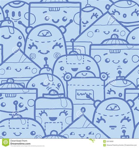 how to use electra doodle doodle robots seamless pattern background royalty