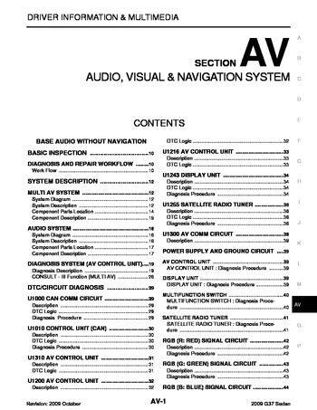 manual repair free 2009 infiniti g37 navigation system 2009 infiniti g37 audio visual system section av pdf manual 601 pages