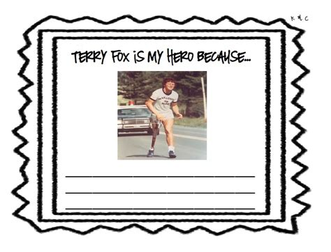 writing template for why terry fox is your hero school