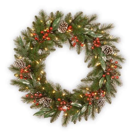 18 inch battery lit christmas tree national tree company 30 in frosted pine berry wreath with battery operated led lights fpb 300