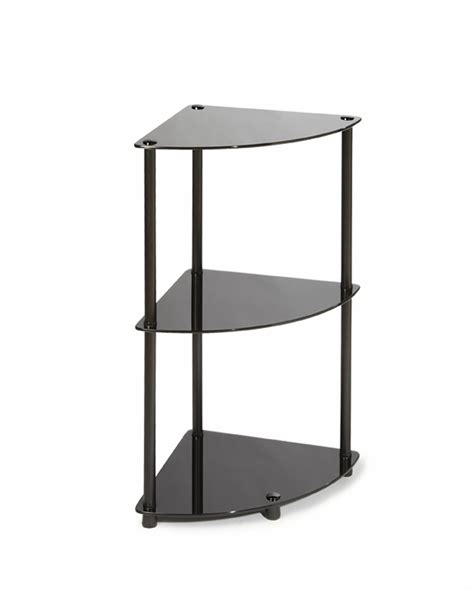 3 Tier Glass Shelf by Convenience Concepts Classic Glass 3 Tier Corner Shelf By