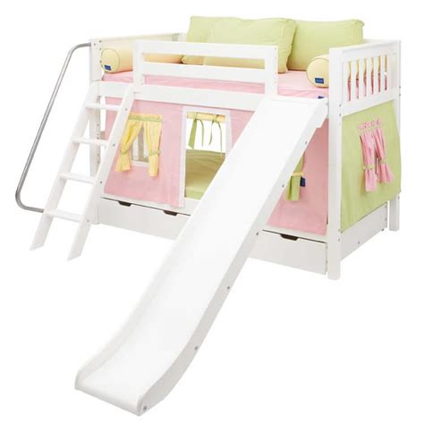 Bunk Bed W Slide Pink And Green Maxtrix Playhouse Bunk Bed In White W Slide 720 1s