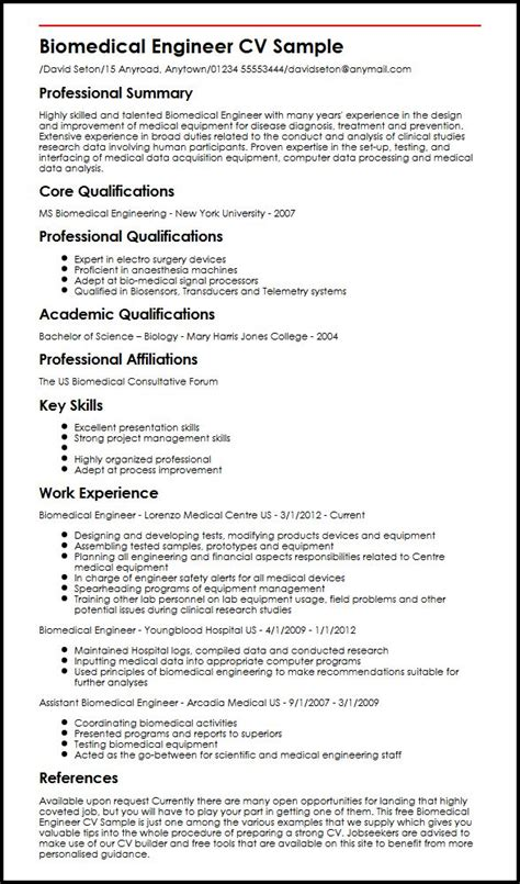 Sample Resume Skills Profile Examples by Biomedical Engineer Cv Sample Myperfectcv