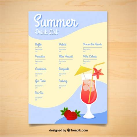 drinks menu template free summer delicious drinks menu template vector free