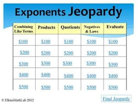 printable exponent games jeopardy review game exponents 5 categories game