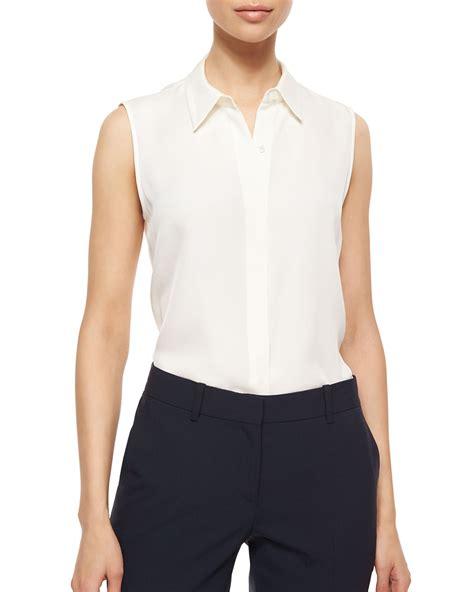 Sleeveless Top Blouse theory tanelis sleeveless silk blouse in white ivory lyst