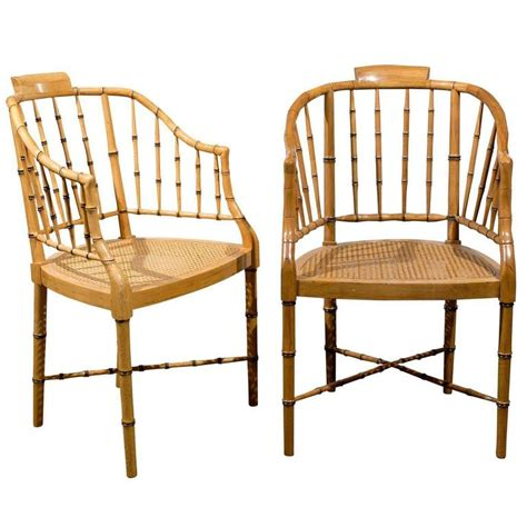 bamboo armchair two vintage faux bamboo tub armchairs by baker furniture