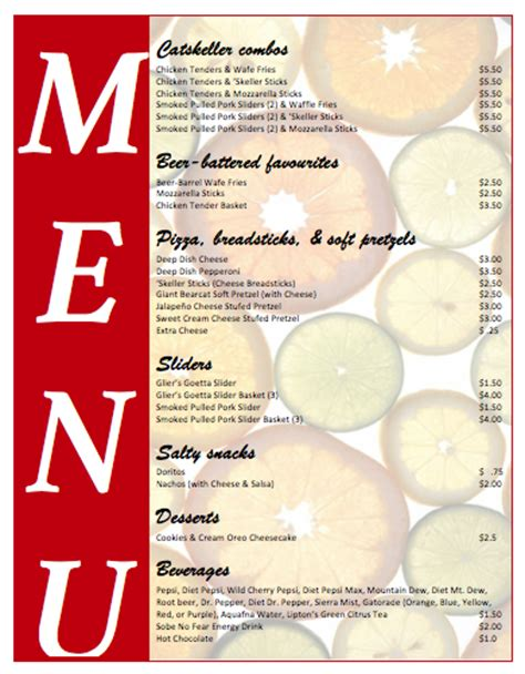 food menu templates for microsoft word menu templates microsoft word templates