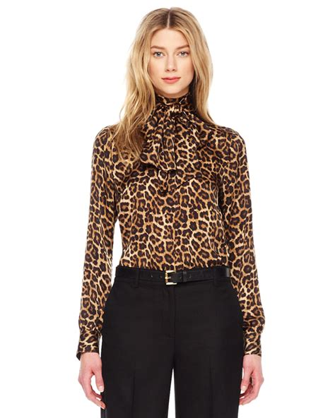 Animal Print Blouse michael kors leopard print bow blouse lyst