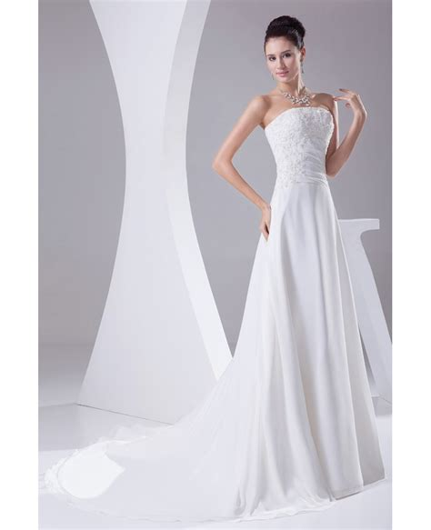 Beaded Lace A Line Dress a line chiffon beaded lace wedding dress with