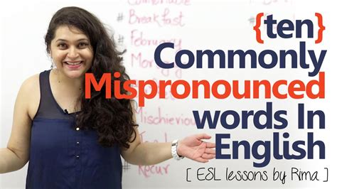 english tutorial online video 10 commonly mispronounced words in english spoken