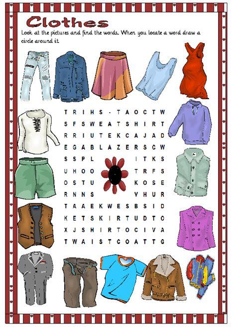 clothes wordsearch puzzle