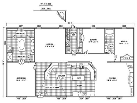 3 Bedroom 2 Bath Single Wide Mobile Home Floor Plans 2 Bedroom House Plans One Level Doublewide
