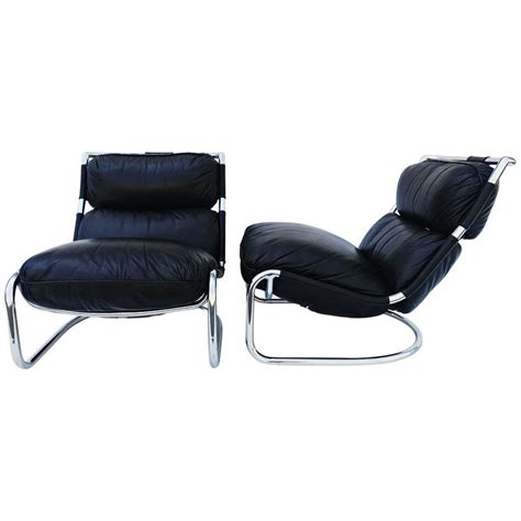 italian leather recliner lounges pair of italian leather lounge chair 1970s for sale at