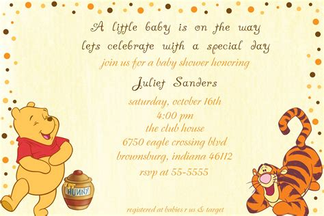 Classic Winnie The Pooh Baby Shower Invites by Winnie The Pooh Polka Dot Border Baby By Littlemunchkinprints