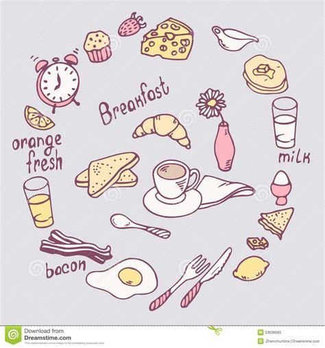doodle food eps breakfast item set food illustration in
