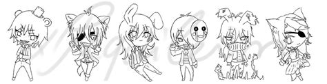 fnaf chibi coloring pages chibi fnaf outlines by xrequilein on deviantart