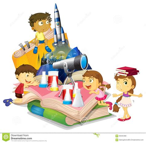 for children science book with children and equipment stock vector