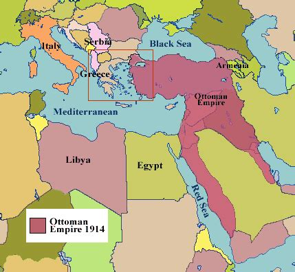 map of ottoman empire 1914 first world war