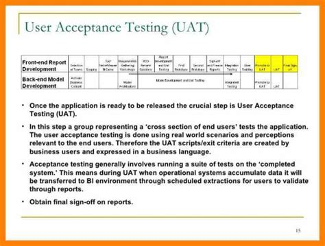 User Acceptance Testing Template Free Download Chlain College Publishing User Acceptance Testing Template