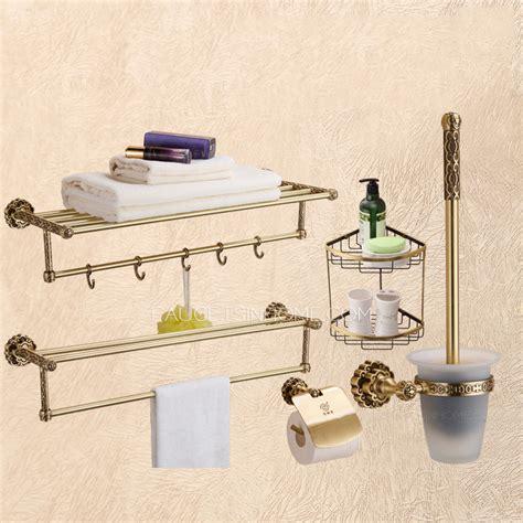 Brass Bathroom Accessories Sets Vintage European Brass 5 Set Bathroom Accessory Sets With
