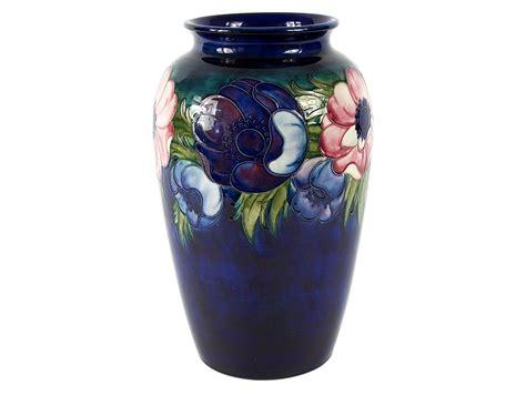 William Moorcroft Vase by C1948 William Moorcroft Pottery Large Anemone Signed Vase