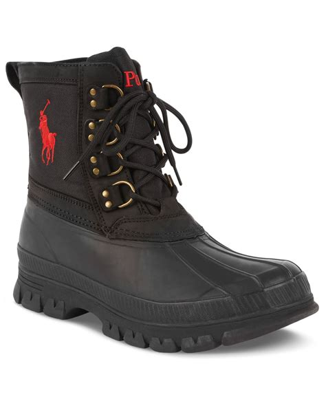 black polo boots polo ralph crestwick duck boots in black for