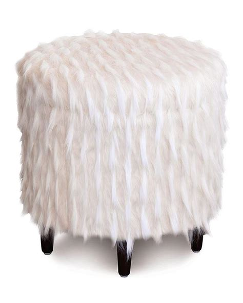 faux fur storage ottoman faux tibetan white pouf