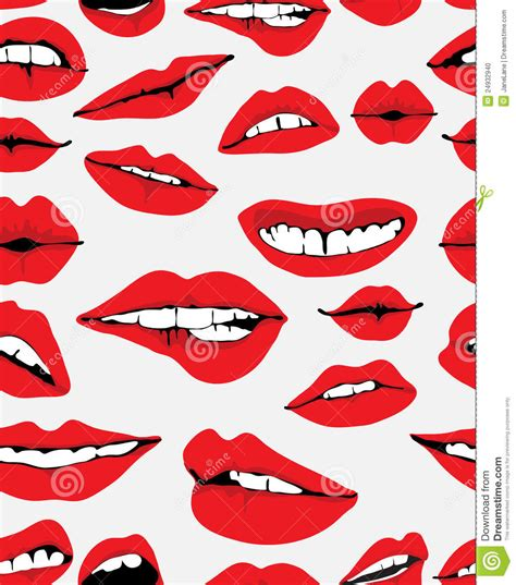 different reds seamless background with different red lips stock vector