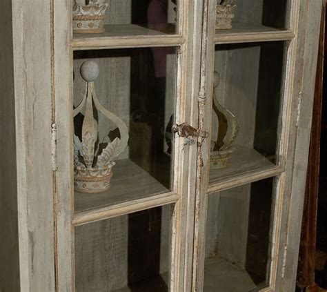 painted glass doors a painted wooden bookcase with glass doors at 1stdibs