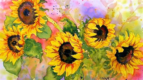 watercolor tutorial sunflowers sunflowers in watercolor real time tutorial youtube