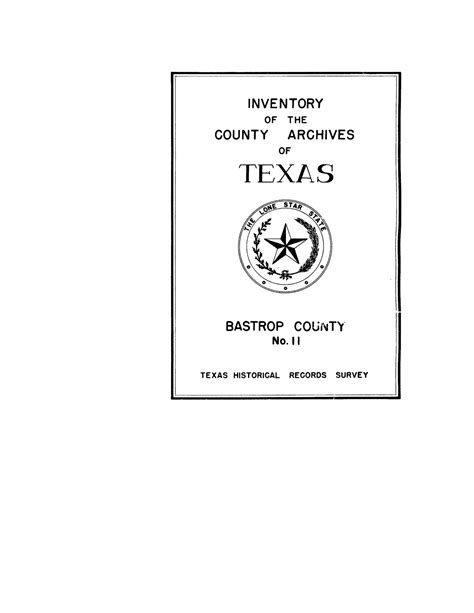 Bastrop County Court Records Inventory Of The County Archives Of Bastrop County