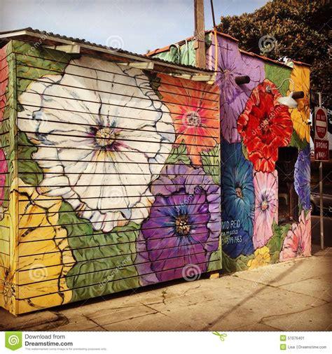 Painted Wall Murals Nature floral street art decorating a venice beach business