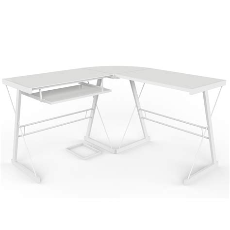 l shaped computer desk white l shaped computer desk in white