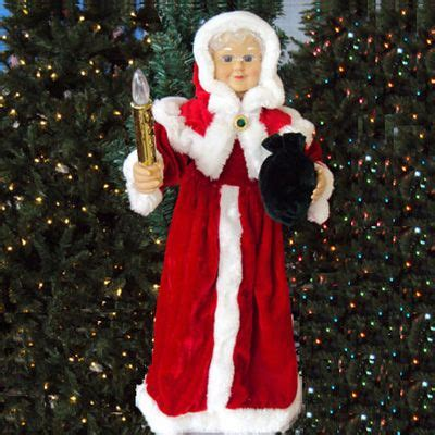24 quot animated red mrs claus w lighted candle indoor