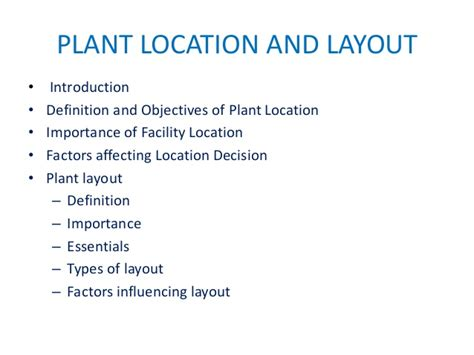 layout of a definition plant location and layout