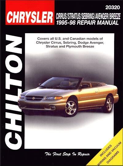 1995 2006 chrysler sebring stratus avenger haynes repair manual cirrus sebring avenger stratus breeze repair manual 1995 1998