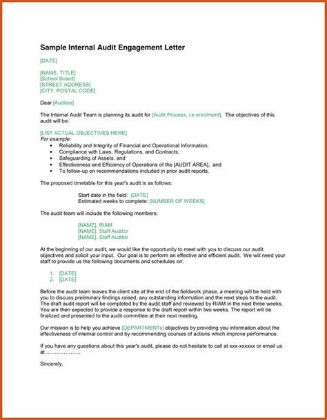 Financial Auditor Cover Letter by Engagement Letter Sle Sop Exle
