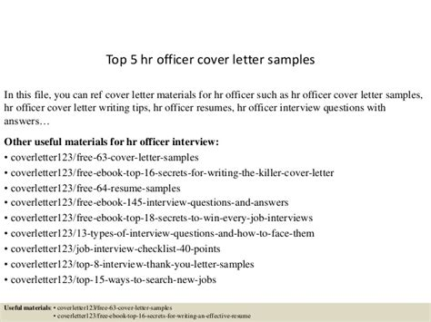 5 hr cover letter sle 28 images 5 hr cover letter sle