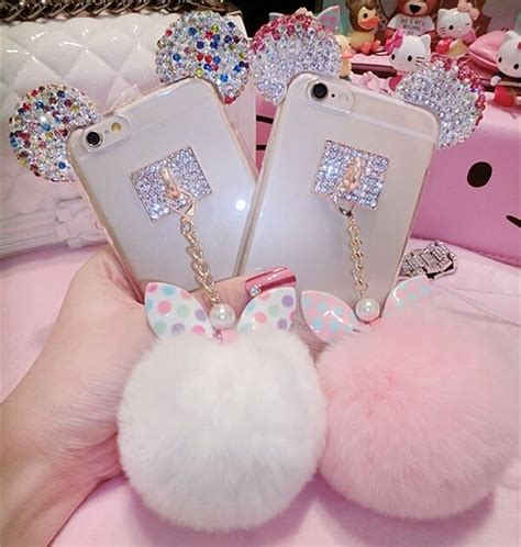 Op4536 For Iphone 6 6s Fashion Pom Pom Velvet Beludru Kode Bi 1 rainbow ears and pom for note or iphone