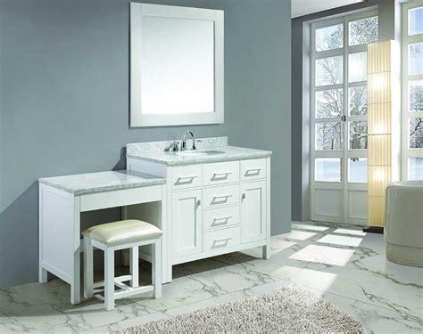 Single Bathroom Vanity With Makeup Area Single Sink Vanity With Makeup Area In White Finish